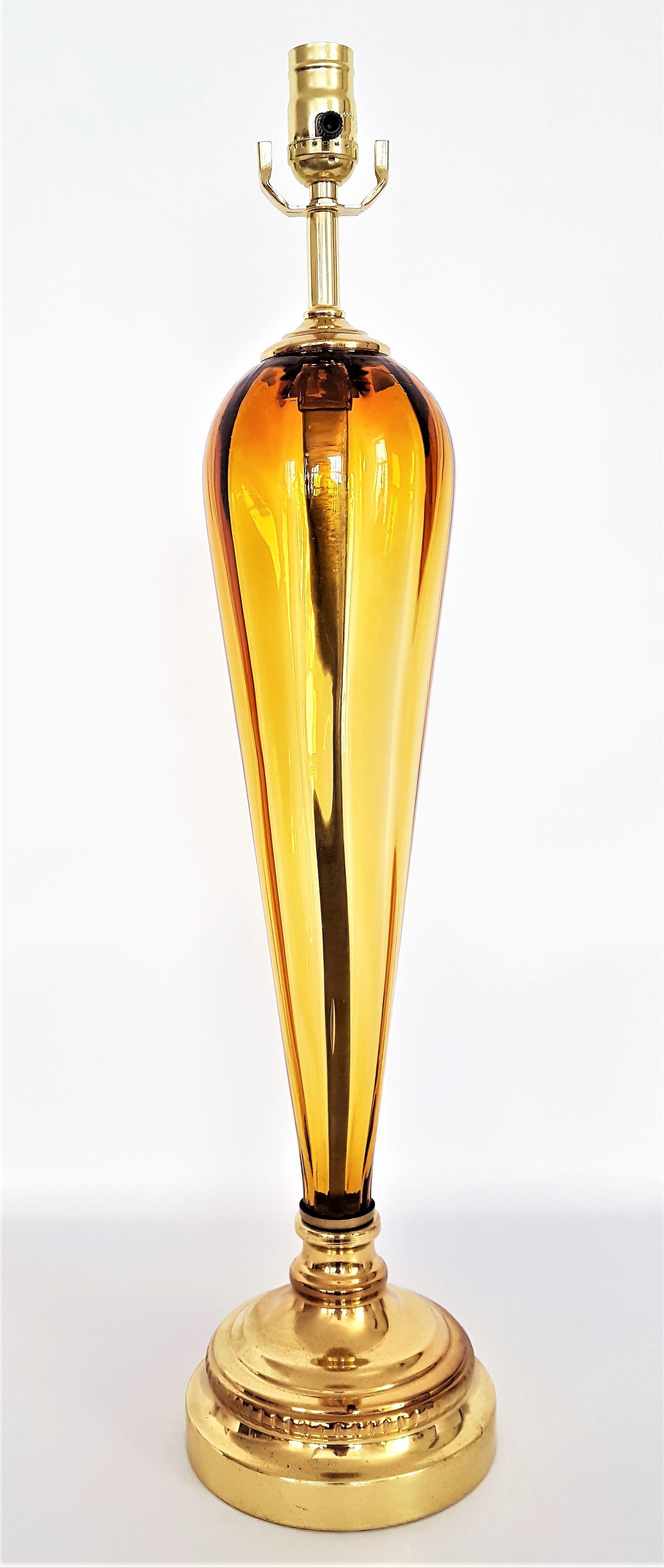 Beau 1960u0027s Vintage Murano Amber Glass Table Lamp    Mid Century Modern MCM  Italy Italian Venetian