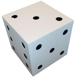 Monumental Vintage Belgium Metal Black /White Sculptural Dice For Sale