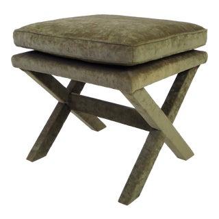 Mid Century Modern X -Bench or Stool in Olive Green Velvet Fabric. 1960s