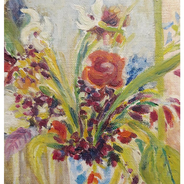 Jules Cavailles -Still Life of Flowers and a Mask -Study Oil Painting-1956 For Sale - Image 4 of 10