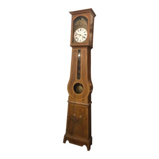 19th Century French Comtoise Longcase Painted Pine Clock For Sale