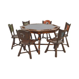 Romweber Viking Oak Vintage Poker Table & 6 Chairs Set For Sale