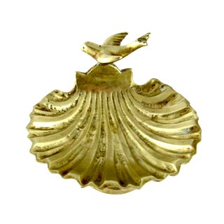 1950s Vintage Molded Brass Clam Shell and Seagull Soap Dish For Sale