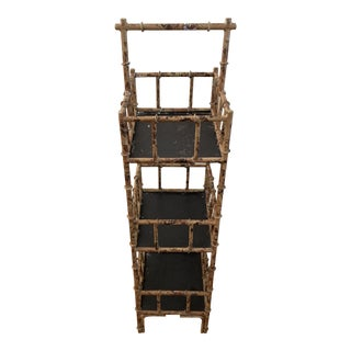 Metal Burnished Bamboo Design Accent Shelf For Sale