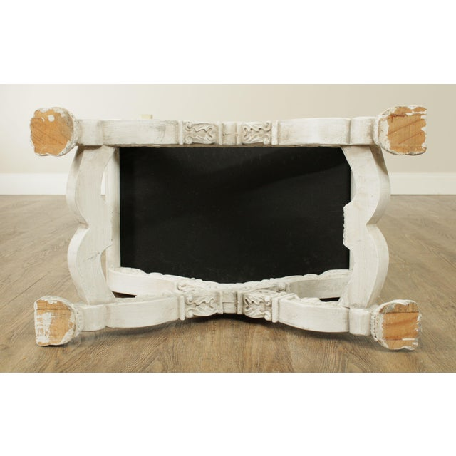Italian Baroque Style Carved White Painted X Stools, Benches - a Pair For Sale - Image 10 of 13