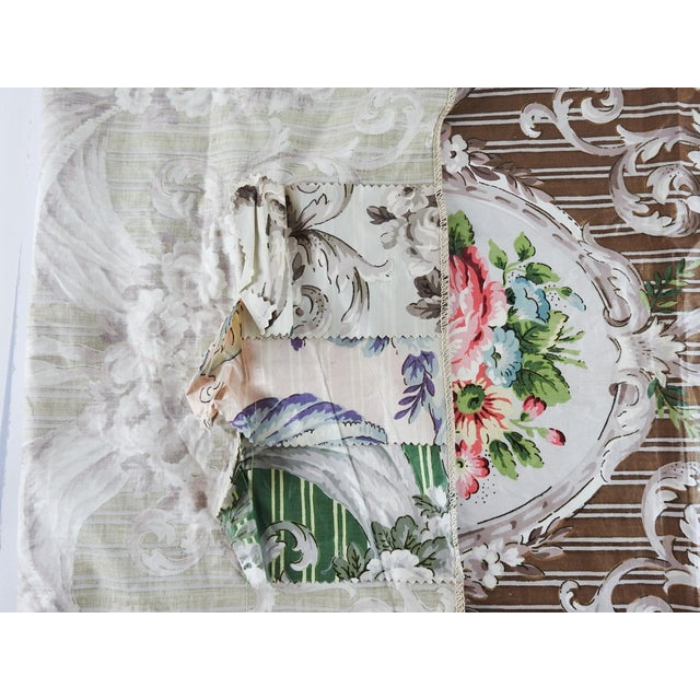 Shabby Chic Vintage Schumacher Halworth Floral Toile Chintz Fabric Sample For Sale - Image 3 of 4