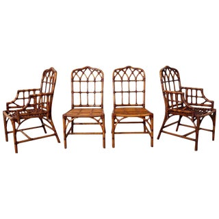 Set of Four McGuire Style Bamboo Rattan Dining Chairs For Sale