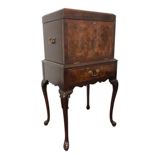 Hickory Chair Mahogany & Burl Queen Anne Silver Chest For Sale