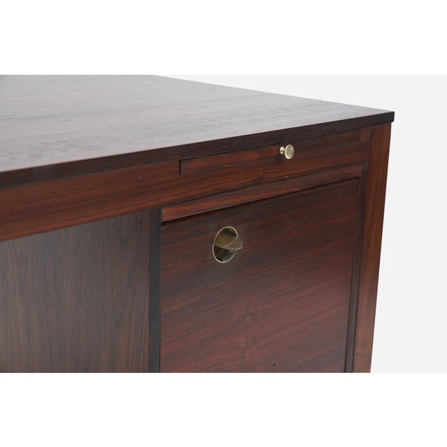 Mid-Century Modern Rosewood Desk With Brass Pulls, Denmark, 1960s For Sale - Image 3 of 8