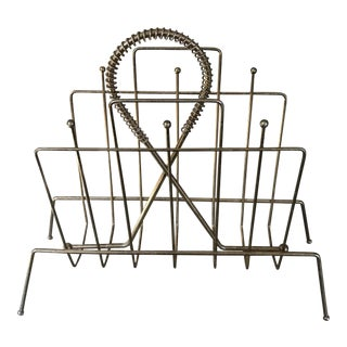 Vintage Brass Tone Magazine Rack For Sale