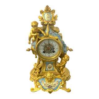 French Ormolu & Champlevé Enamel Draped Putti Motif Clock, Paris, 1890s For Sale