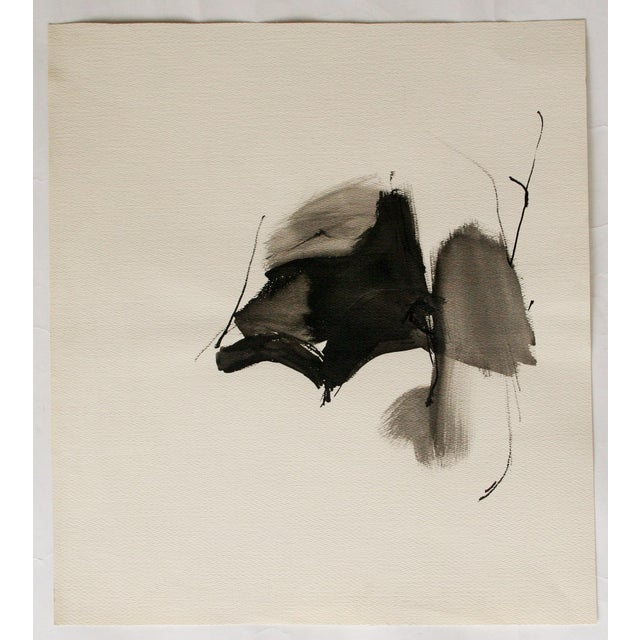 Vintage Abstract Black and White Watercolor Painting - Image 5 of 6