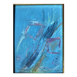 "Abstract ""Spring's Reflection"" 5x7 French Oil Pastel Erik Sulander For Sale"