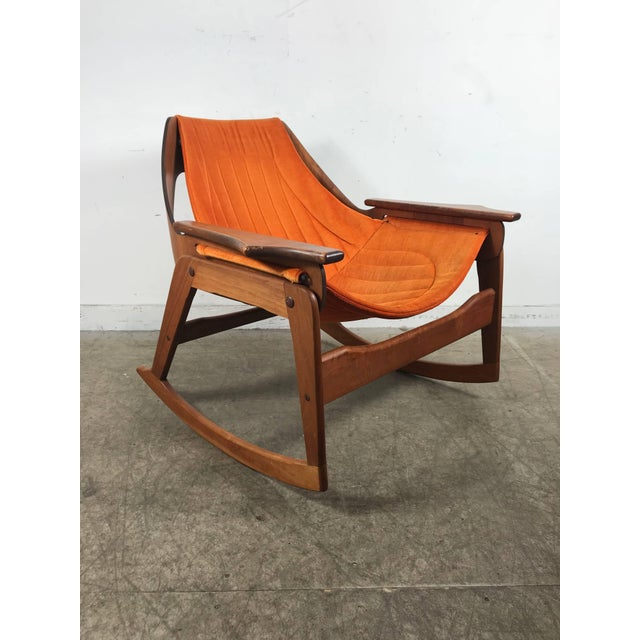 Mid-Century Modern Rare Jerry Johnson Midcentury Walnut Sling Rocking Chair 1960s For Sale - Image 3 of 9