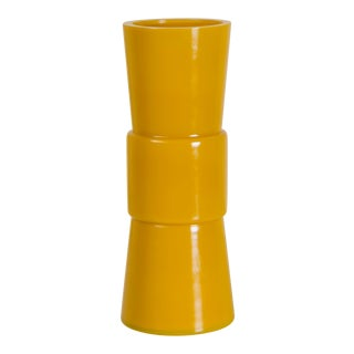 Yellow Peking Hand Blown Glass Gu Vase by Robert Kuo For Sale