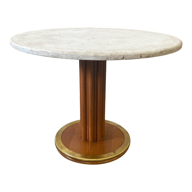Round Stone Top Italian Pedestal Dining Game Table - Mid Century For Sale