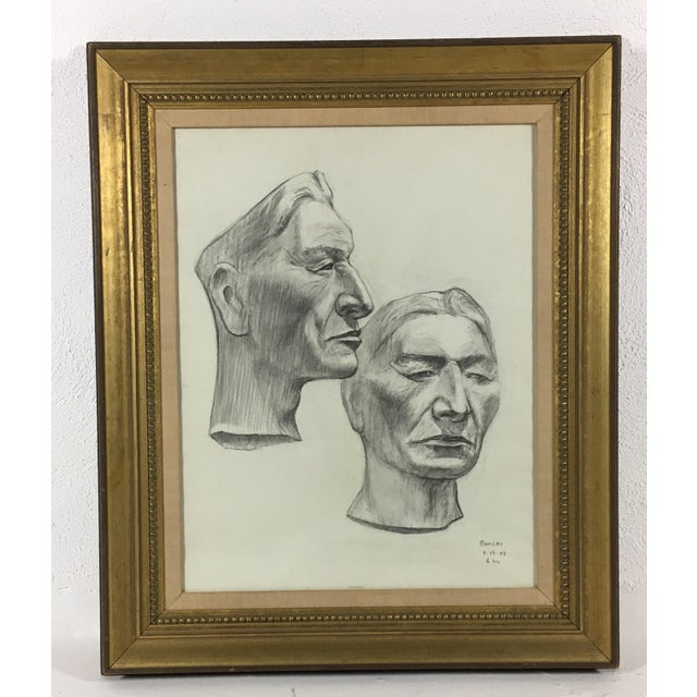 Gold Academy Style Charcoal on Paper For Sale - Image 8 of 9