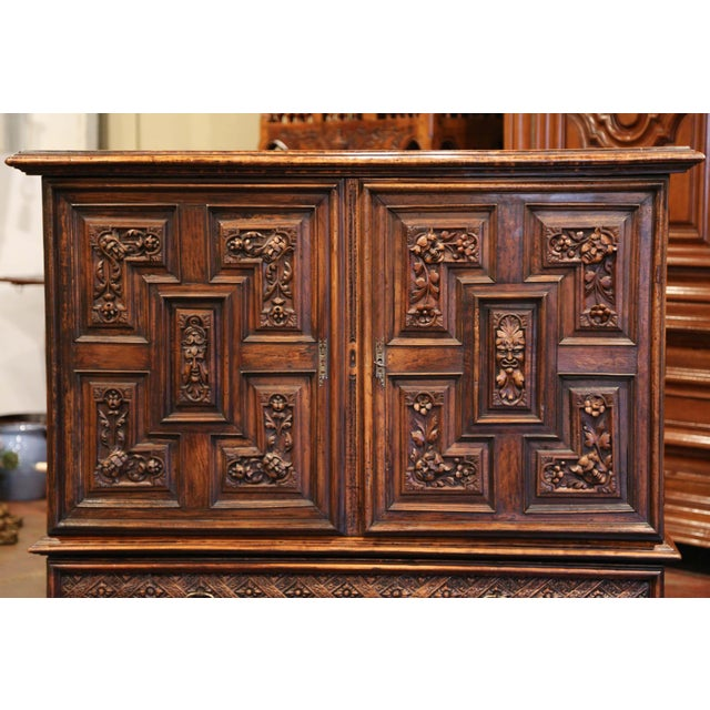 Figurative 19th Century Italian Carved Walnut Two-Door Buffet Cabinet With Bottom Drawer For Sale - Image 3 of 13