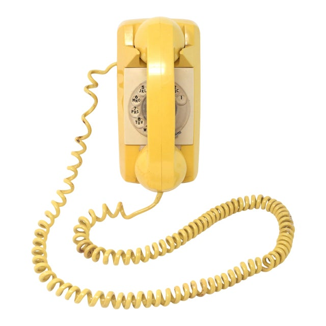 Vintage 1976 Starlite Yellow Rotary Wall Phone For Sale
