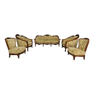 French Carved Wood Sofa Set For Sale