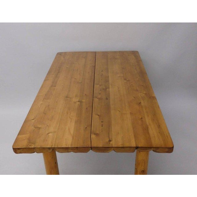Americana Knotty Pine Rustic Adirondack Ranch or Cottage Dining Table With Benches For Sale - Image 3 of 10