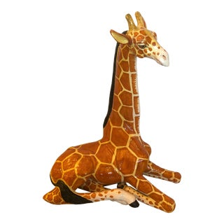 Italian Terracotta Hand Crafted Giraffe Sculpture For Sale
