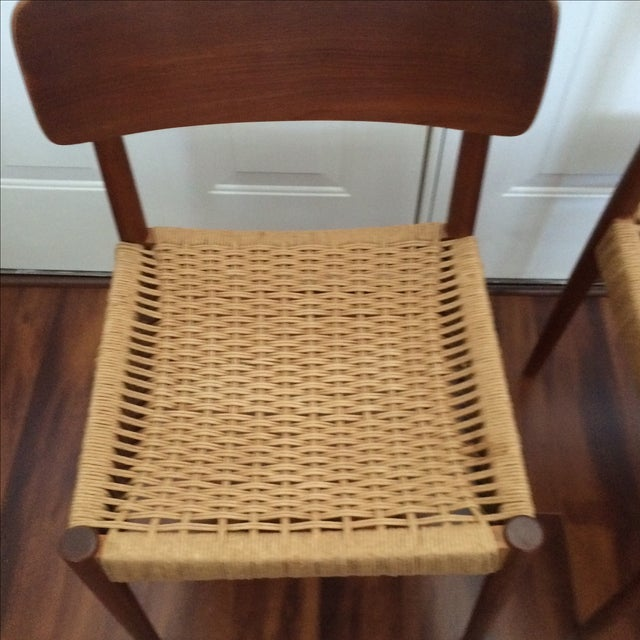 Vintage Danish Modern Rope Seat Chairs - A Pair - Image 4 of 6