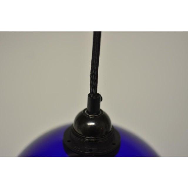 Mid-Century Modern Blue Glass Pendant Light - Image 6 of 6