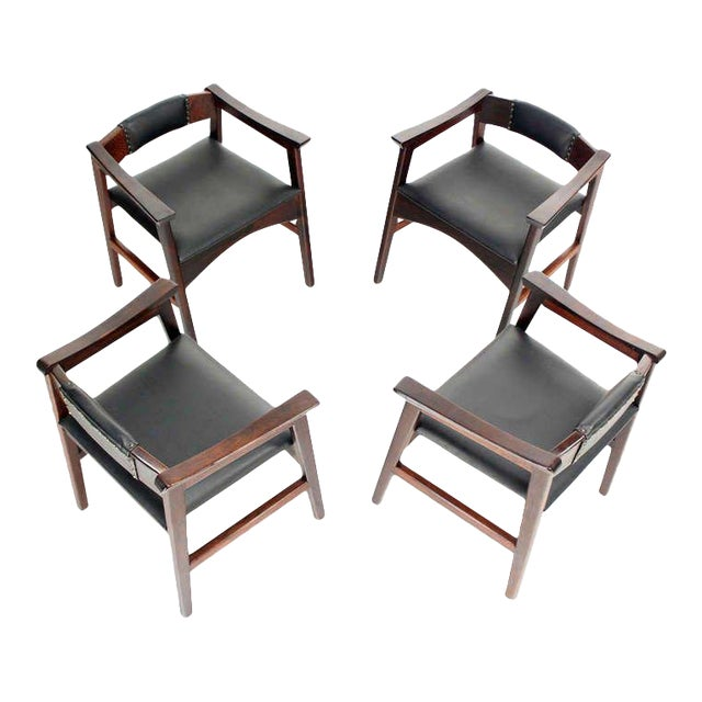 1960s Vintage Danish Mid-Century Modern Rosewood Dining Chairs - Set of 4 For Sale