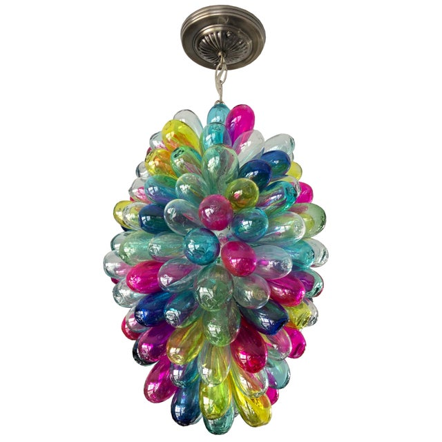 Recycled Hand Blown Glass Gemstones Color Chandelier For Sale - Image 12 of 12