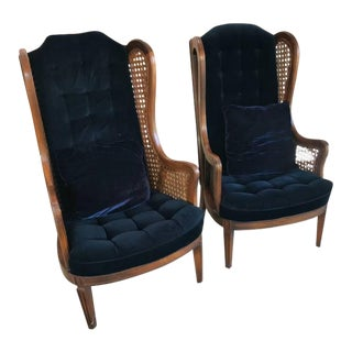 Mid Century Modern Royal Blue Velvet Wingback Chairs - a Pair