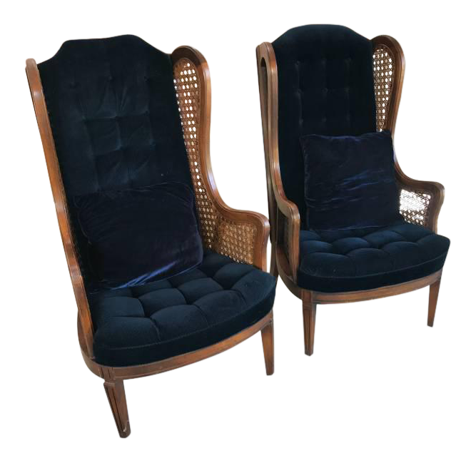 Mid Century Modern Royal Blue Velvet Wingback Chairs - a Pair  sc 1 st  Chairish & Mid Century Modern Royal Blue Velvet Wingback Chairs - a Pair | Chairish