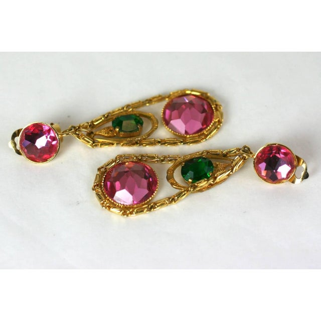 1950s French Crystal Girandole Long Earrings For Sale - Image 5 of 6