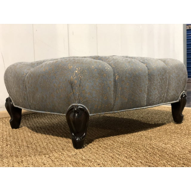 Tufted Ottoman Custom Made by De Angelis Ltd New York in Fortuny Fabric.