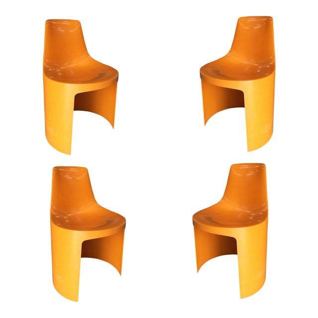 Early Swedish Orange Plastic Stacking Side Chairs by Overman - Set of 4 For Sale