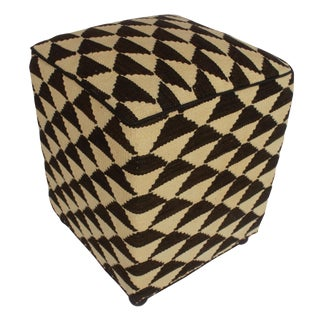Arshs Dee Ivory/Black Kilim Upholstered Handmade Ottoman For Sale