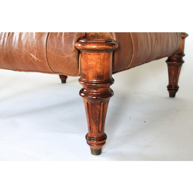 Large Leather Tufted Ottoman For Sale In Milwaukee - Image 6 of 7