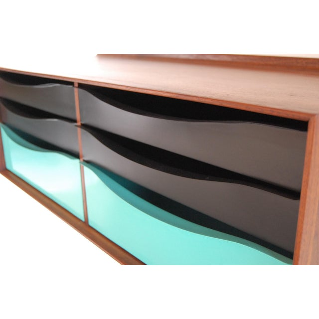 Mid-Century Modern Vintage Mid Century Modernist Walnut and Metal Wall Hanging Cabinet For Sale - Image 3 of 8