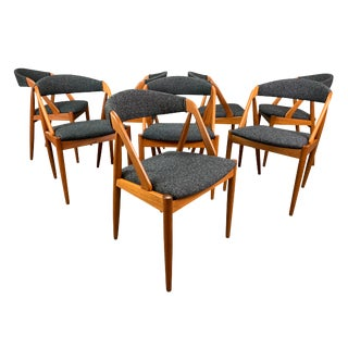 1960s Vintage Kai Kristiansen Danish Modern Teak Chairs Model #31- Set of 8 For Sale