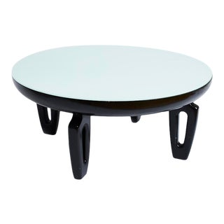 Vintage Coffee Table With Sculptural Legs and Reverse Painted Top