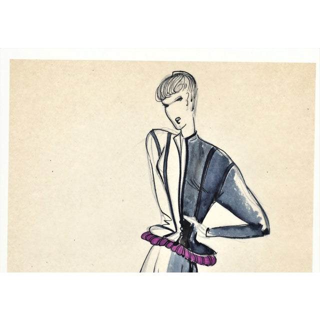 Contemporary Original French Fashion Drawing For Sale - Image 3 of 4