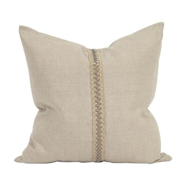 "Kenneth Ludwig Chicago Prairie Linen 20"" Pillow With Deco Trim For Sale In Chicago - Image 6 of 6"