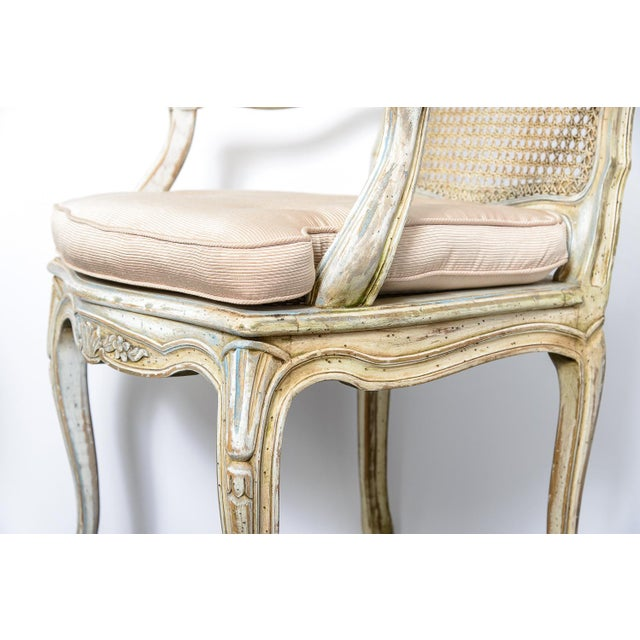 White Pair French Louis XV Chairs With Caned Back & Seat For Sale - Image 8 of 13