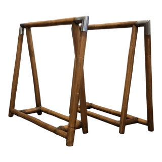 Hollywood Reency Bamboo Sawhorse Bases - a Pair For Sale