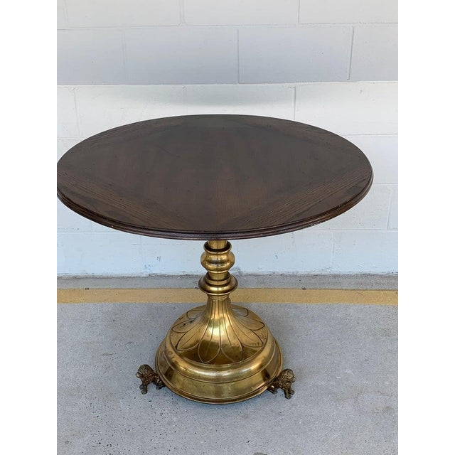 Traditional Antique English Brass and Mahogany Lion Motif Pub Table For Sale - Image 3 of 10