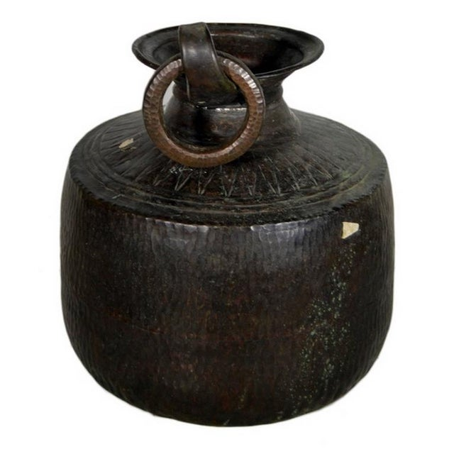 Early 20th Century Vintage Indian Hand-Hammered Copper Jug with Carvings, Early 20th Century For Sale - Image 5 of 8