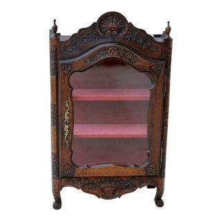 Antique French Country Oak 19th Century Louis XV Display Curio Cabinet Vitrine Bookcase For Sale