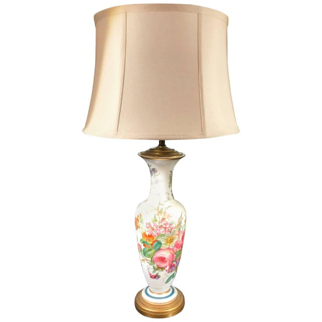 1840s French Opaline Enamel Painted Vase Lamp For Sale - Image 9 of 9