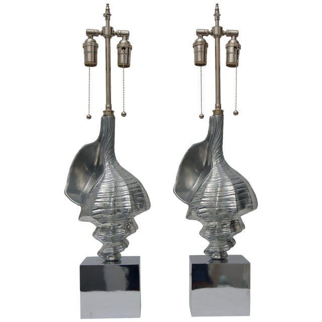 Sea Shell-Form Table Lamps in Aluminium - a Pair For Sale