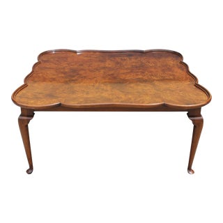 1960s Queen Anne Burl Wood Pie Crust Bordered Coffee Table For Sale